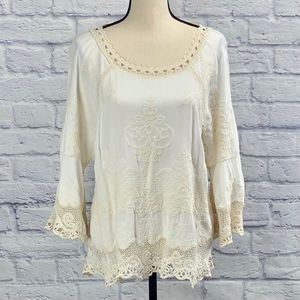 Democracy Embroidered Crochet Blouse Top in Ivory